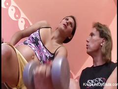 Horny & knocked up brunette gets a sexual workout