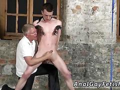 Mature man jerks and sucks a bound twinks sweet dick