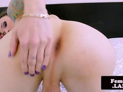 Inked trap stroking her hard rod