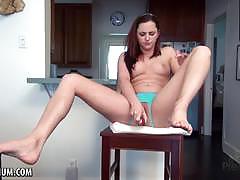 Sensual brunette dildo fucks her warm pussy