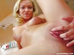 All internal darby squirts milk and cum which is collected in a container
