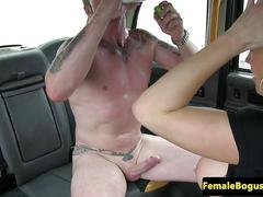 Female cabbie drilled on the backseat
