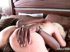 Curvy mom eats and humps black monster cock