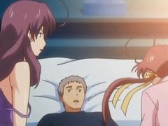 Hentai newbie sucking dick in threesome