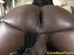 Black tgirl booty popping and jerking off
