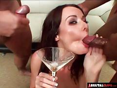 Brunette will swallow every drop of cum