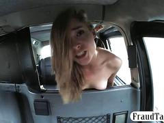 Petite blonde babe in stockings railed by horny driver