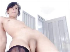 Getting a little cum out of her big ts cock