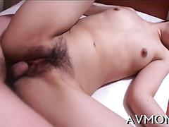 Hairy japanese chick gets slammed in bed by fat man
