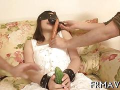 Japanese doll sucking dick with a blindfold and without