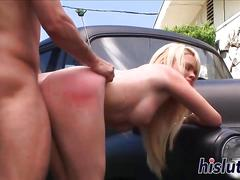 Big tits blonde getting fucked on a classic cars fender