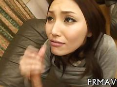 Sexy japanese girl sucks dick after getting her tits licked