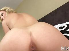 Hot classy blonde sliding on a hard dick in bed