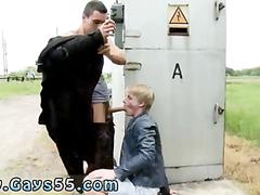 Blond twink from europe sucks off a ripped stud in public