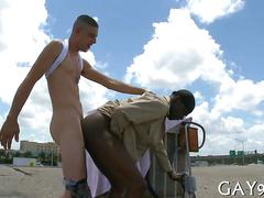 Black guy gets his asshole fucked doggy style on a roof
