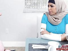 Arab stepmom and teen amazing threesome session on sofa