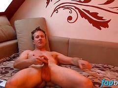 Naughty stud tom jerks off his dick like a fucking champ