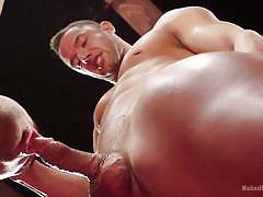 gays, gay blowjob, gay wrestling, mouth fuck, domination, tattoo, muscular, floor, naked, naked kombat, kink men, josh conners, jason styles
