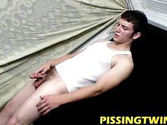 Hot twink eddy is beating out a hot cum load into his puddle