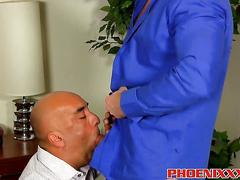 Bald old dude fucked by big hunk doggy style