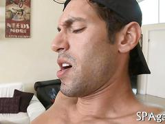 Oiled up stud fucking his hot masseur on a table