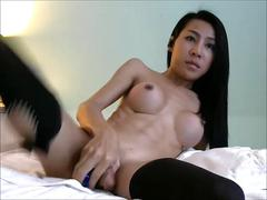Asian ladyboy with big tits pleasing herself