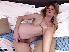 Milf ginger fucks her hairy pussy