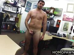 Weird guy trying to get hard in front of two horny cock and stroke blowjob