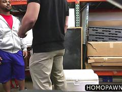 Bubbly big ass black dude sucked two fat cock in the pawnshop for couple of bucks