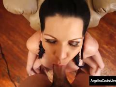 Angelina castro stuffs her mouth with cock!