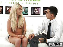blonde, bdsm, babe, casting, brutal, tattooed, mouth fuck, tied hands, brutal castings, fetish network, madelyn monroe