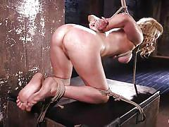 milf, blonde, bdsm, big ass, big tits, hogtied, dildo, suspended, rope bondage, hogtied, kink, the pope, cherry torn