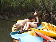 Japanese couple fucked in canoe