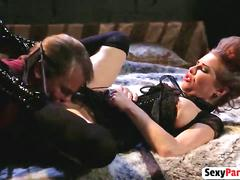 Hot milf slut with big tits sucks hard dick