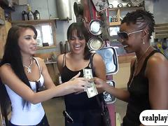 Two hot women flash boobs and ass for cash in the garage