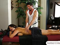 Big boobs officer banged by her masseur on massage table