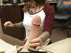 Natural tits brunette babe fucked hard by nasty pawn guy