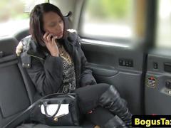 Ebony passenger fingerfucked in back of cab