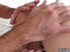 Shemale hottie grace snares a hunk fellow and sucks his cock