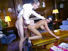 patty michova, danny d, brunette, riding, doggystyle, cumshot, busty, huge cock, table, heels, cowgirl, passion