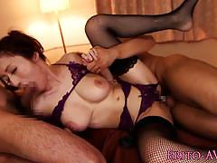 Lingerie clad asian enjoys threesome
