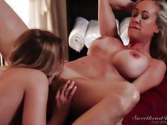 Kenna james giving massage to her step-mother @ lesbian massage