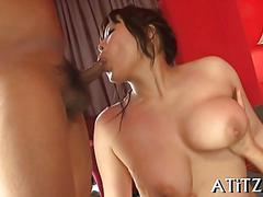 Japanese slut gets fucked in threesome with horny businessmen