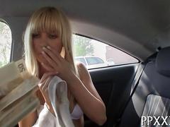 blowjob, hardcore, teen, blonde, fucking, sucking, car, money for sex