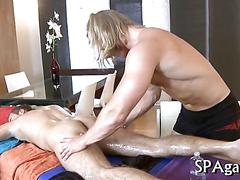 Long haired masseur gets fucked by his straight client