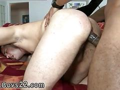Black guy with massive dick makes white guy groan