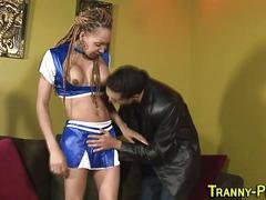 Ebony tranny gets jizz