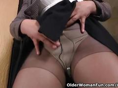 Office milf allison peels off her pantyhosed panties and shows her secret