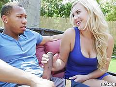Pretty blonde summer day getting pounded by a black dick