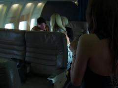 Naughty blondes fuck a passenger inside a plane